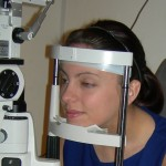 Having an eye examination at Robin Hall Opticians, Manchester